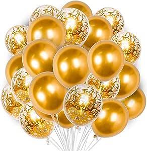 Gold Balloons Set, 60 pcs Gold Confetti Balloons, Metallic Gold Balloons, Party Balloons, Latex Balloons
