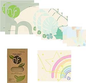 Nature Friendly Beeswax Reusable Food Wraps Organic Beeswax Wraps Set of 7+1Kid Sustainable Zero-Waste Plastic Alternative Food Wrap Eco Friendly Beeswax Wrap for Food Storage (Girls Bonus)