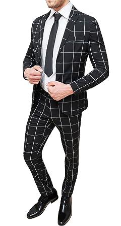 selezione premium metà prezzo bene fuori x Abito Completo Uomo Sartoriale Nero Quadri Vestito Slim Fit Elegante