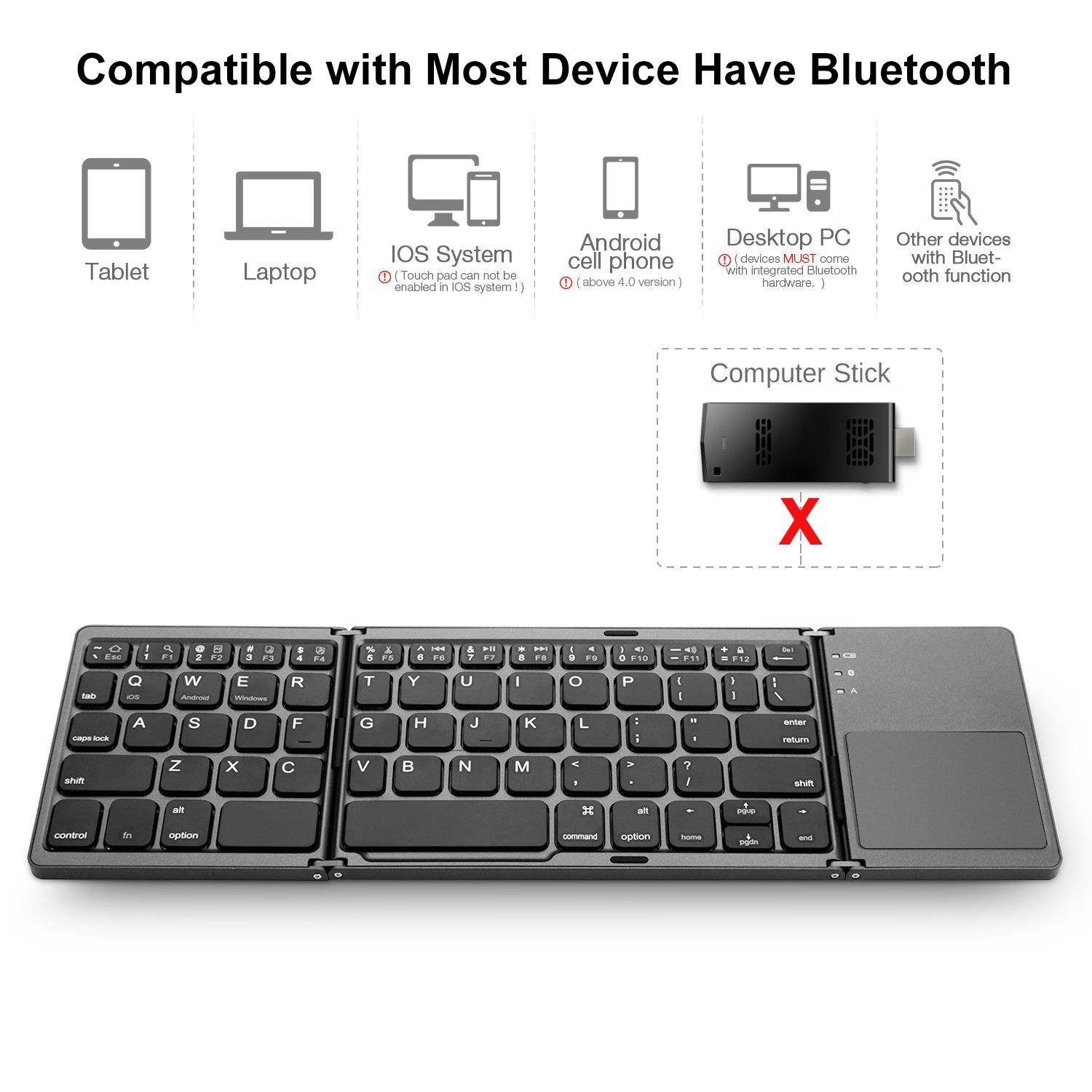 Amazon.com: AVATTO MT03 Wireless Foldable Keyboard Bluetooth with Touchpad , USB Rechargeable , Portable for Tablet , Pad , Phone , Smart TV , Android TV ...