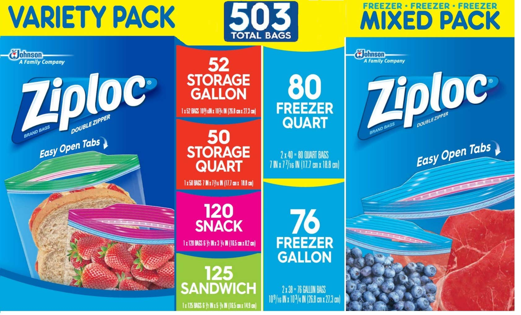 Ziploc Storage and Freezer Bags Ultimate Variety Bundle - 503 Total Bags - Freezer Gallon, Storage Gallon, Freezer Quart, Storage Quart, Sandwich and Snack Varieties