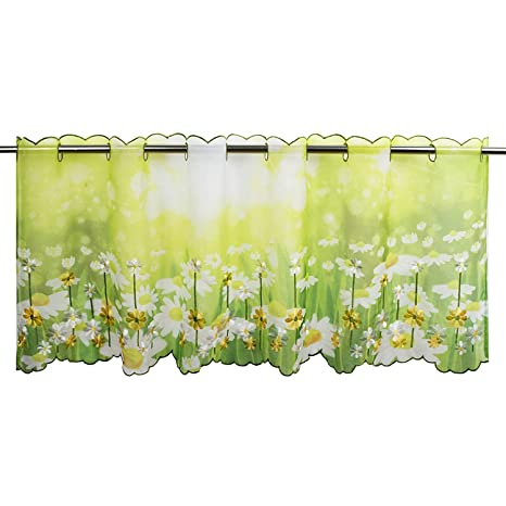 Tischdeckenshop24 Scheibengardine SOMMERWIESE für die Küche, grüne  Wohnzimmer Bistrogardine, 45x115 cm, Moderne und Transparente Gardine für  den ...