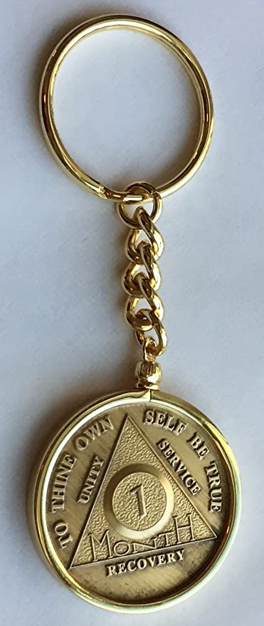 1f6c9049e0b Wendells 1 Month 30 Day AA Sobriety Chip In Removable Gold Plated Keychain  Holder