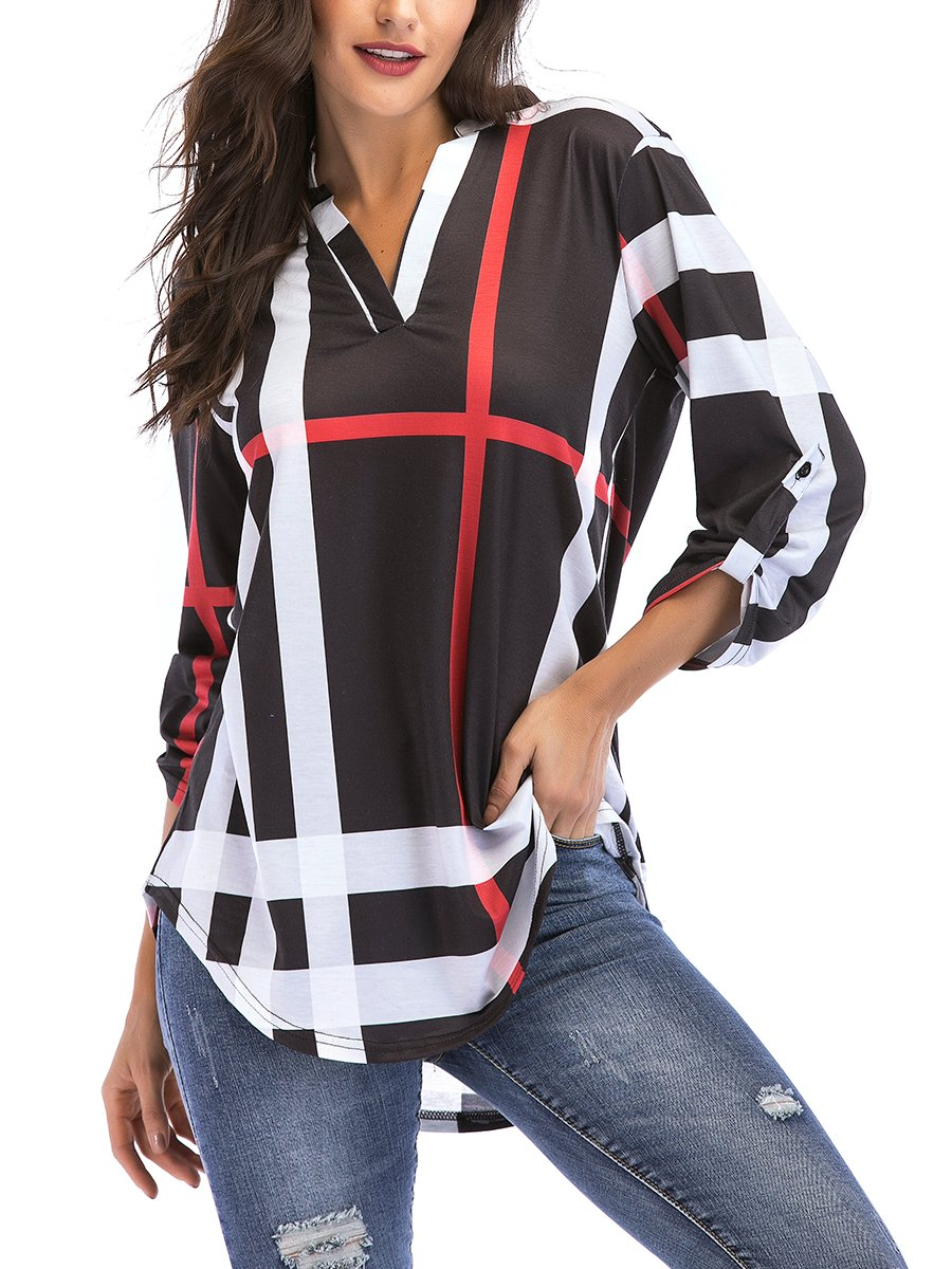 St. Jubileens Women Roll-up 3/4 Sleeve Plaid Shirt Tunic V Neck Casual Pullover Blouses Tops XL, Black
