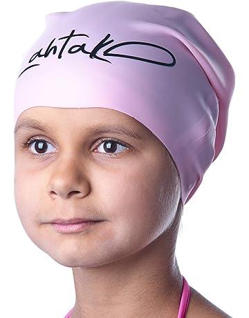 04e8886ada99 Bonnet de Bain Enfants Cheveux Longs – Bonnet de Natation pour Filles,  Garçons, Adolescents