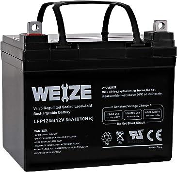 Weize 12V 35AH Battery Rechargeable SLA Deep Cycle AGM Replace 12 Volt 33AH 34AH 36AH 30AH, in Series 24V 36V 48V for Power Patrol SLA1156 Ritar RA12-33 Renogy PV Solar Panels Bat-Caddy X3R Golf Caddy