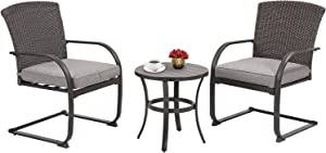 Grand patio 3 Piece Wicker Outdoor Spring Motion Bistro Set, Cushioned Chairs and Round Table Furniture Seat Brown