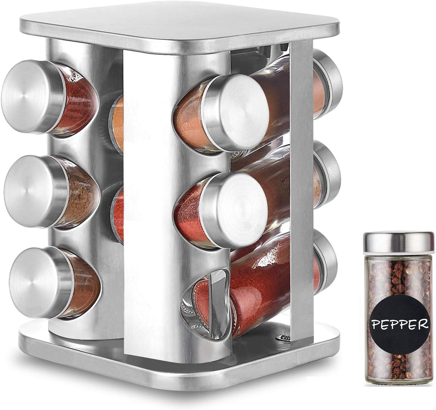 DEFWAY Organizador giratorio para especias, de acero inoxidable, soporte para especias y almacenamiento con 12 tarros de 130 ml, gran encimera ...