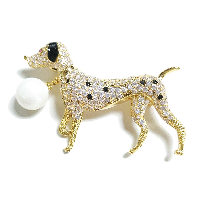NONOSIZE Fine Fashion Animal Brooch Jewelry Bling Rhinestone Spotted Dog Shape Brooch