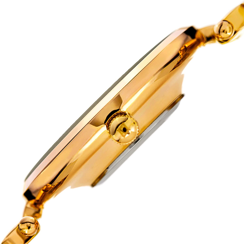 Akribos XXIV Women's AK963 Quartz Stainless Steel Casual Mother-of-Pearl Swarovski Crystals Watch Yellow Gold