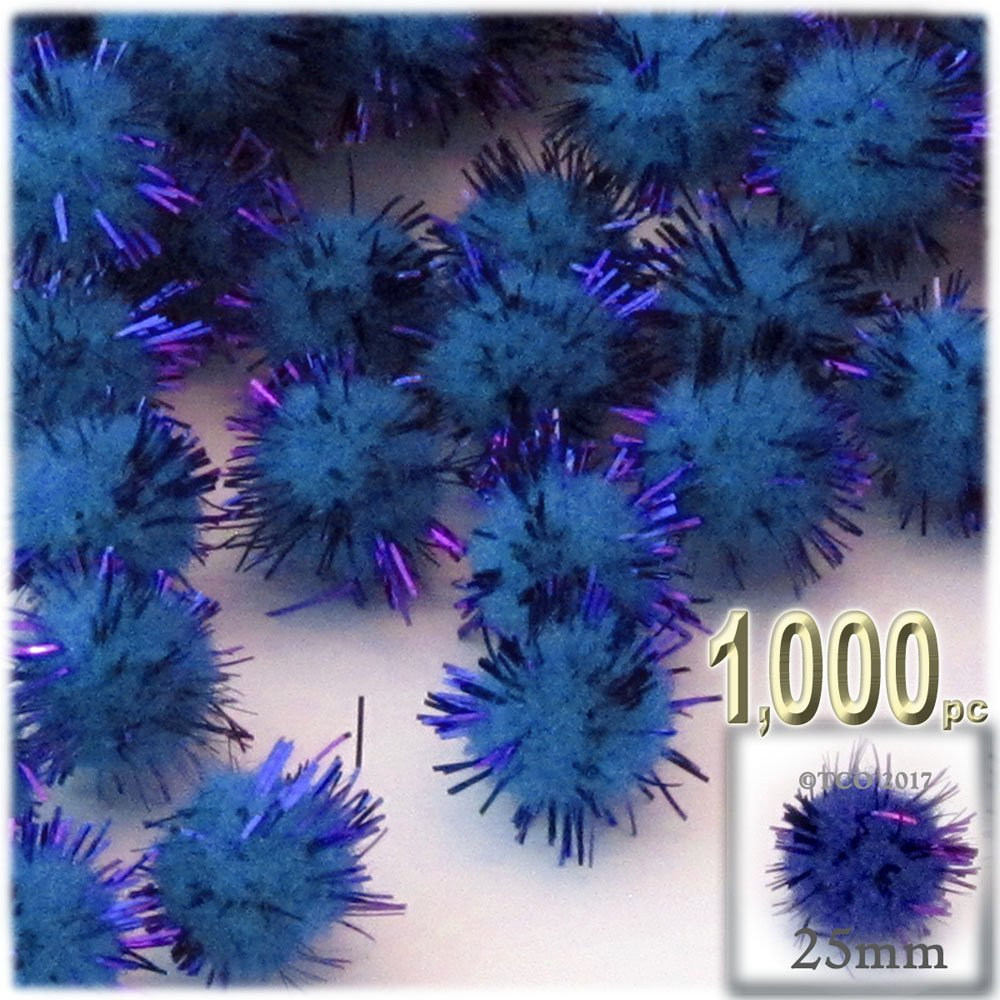 The Crafts Outlet Chenille Sparkly Pom Poms, Blue porcupine, 1.0-inch (25-mm), 1000-pc, Royal Blue by The Crafts Outlet