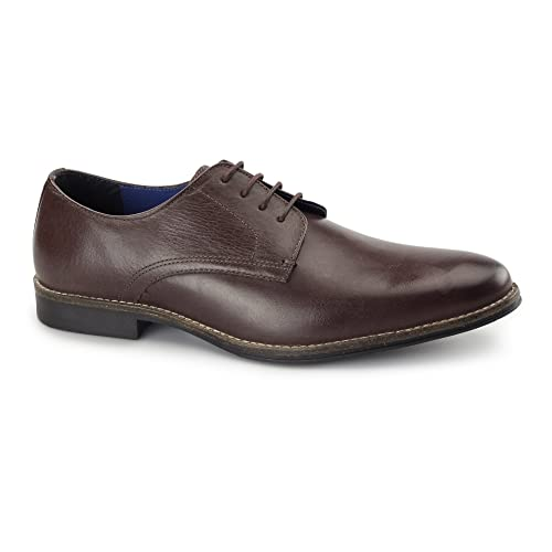 f7456fe1592 Red Tape Shannon Mens Smart Leather Derby Shoes Bordo  Amazon.co.uk ...