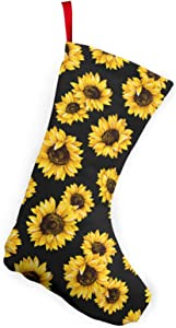 MSGUIDE Christmas Stocking 2 Pack, 10 Inch Hipster Golden Sunflowers Christmas Stockings Fireplace Hanging Stockings for Family Christmas Decoration Holiday Season Xmas Party Decor