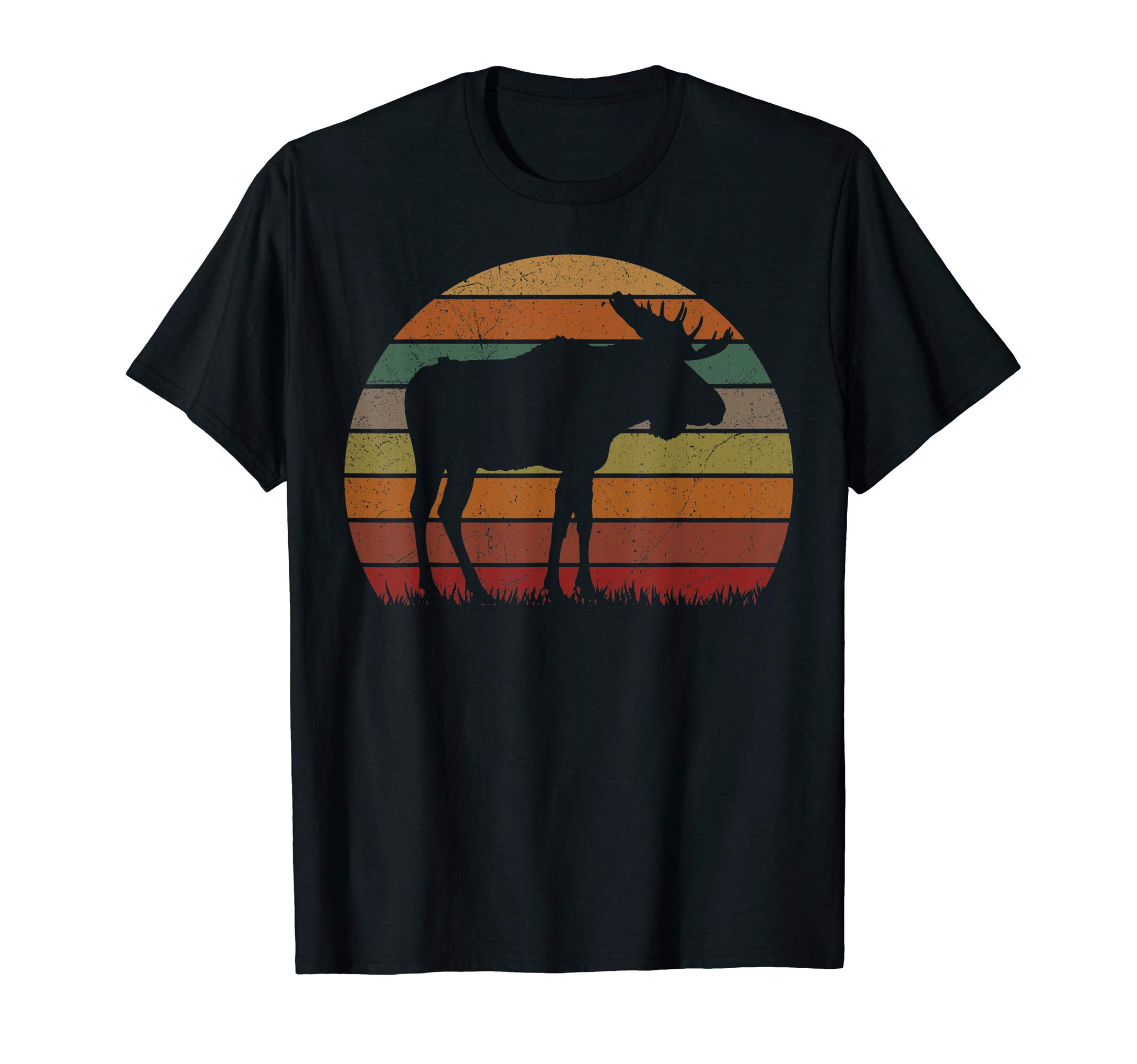 Funny Moose in Sunset Camping Lovers Gift Happy Camp T-Shirt by Camp Moose in Sunset Tee Love Camper Gifts
