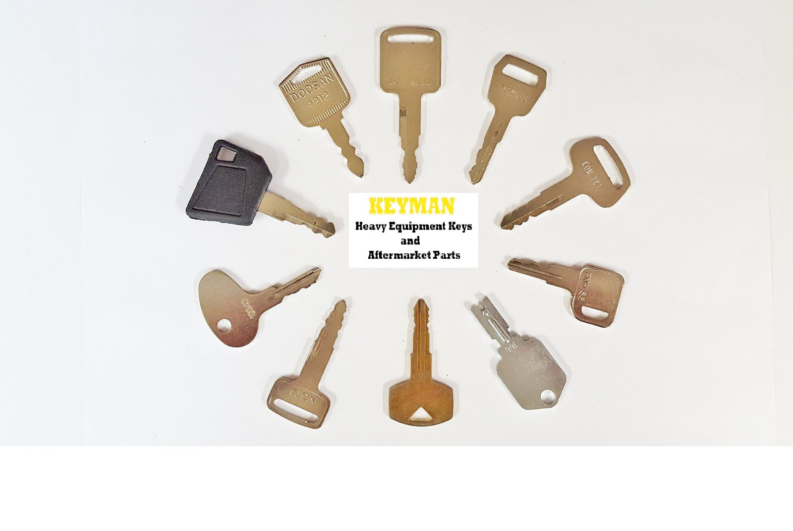 Keyman Forklift Heavy Equipment/Construction Ignition 10 Key Set Yale Cat Clark Komatsu Toyota Doosan Nissan Hyster JCB Volvo Equipment Keys Set