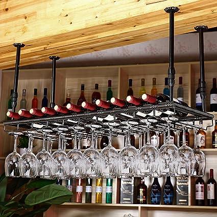 TLMY Bar Bar Estante De Copa De Vino Colgante Portavasos ...