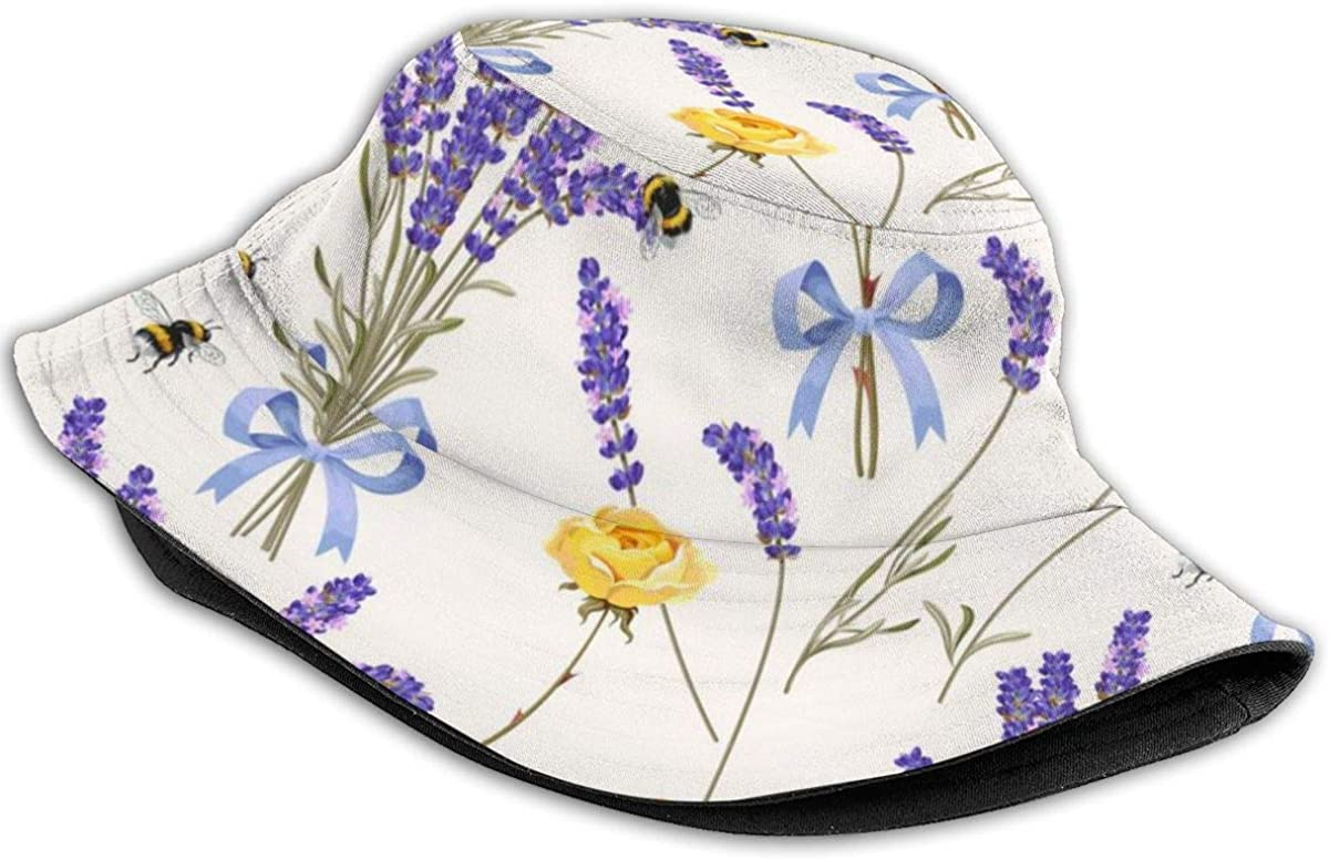Kepelld Caraly Unisex Beautifully Packaged Lavender Outdoor Fishermans Hat UV Protection Bucket Sun Hat