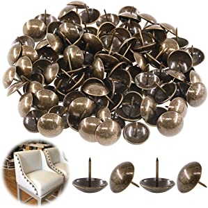 "Keadic 100Pcs [ 1"" in Diameter ] Antique Upholstery Tacks Furniture Nails Pins Assortment Kit for Upholstered Furniture Cork Board or DIY Projects - Bronze"
