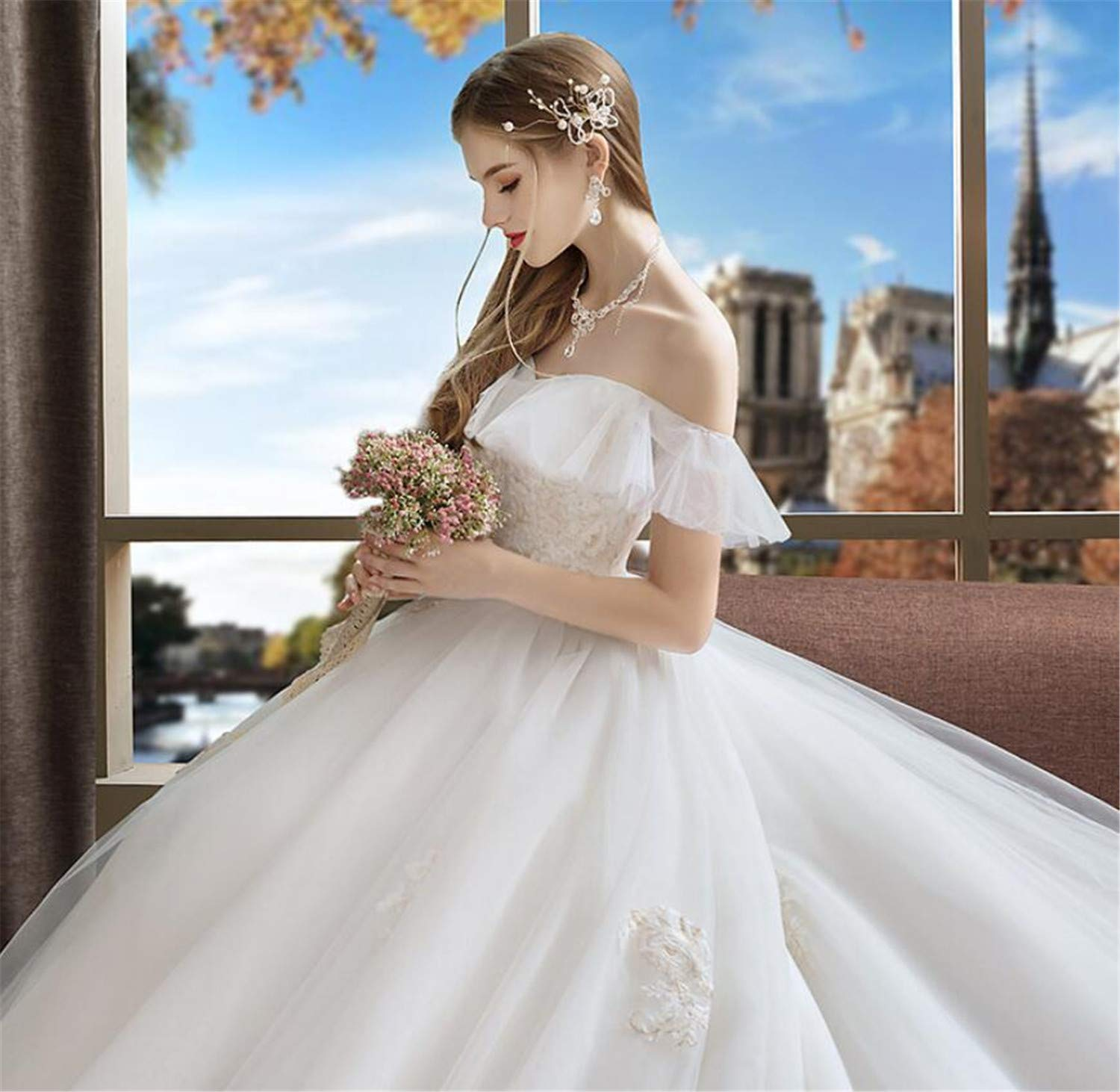 Wedding Dress, Princess Dream Lace Bride Trailing Wedding Dress Luxury High Waist Qi Pregnant Women Wedding Party Dress