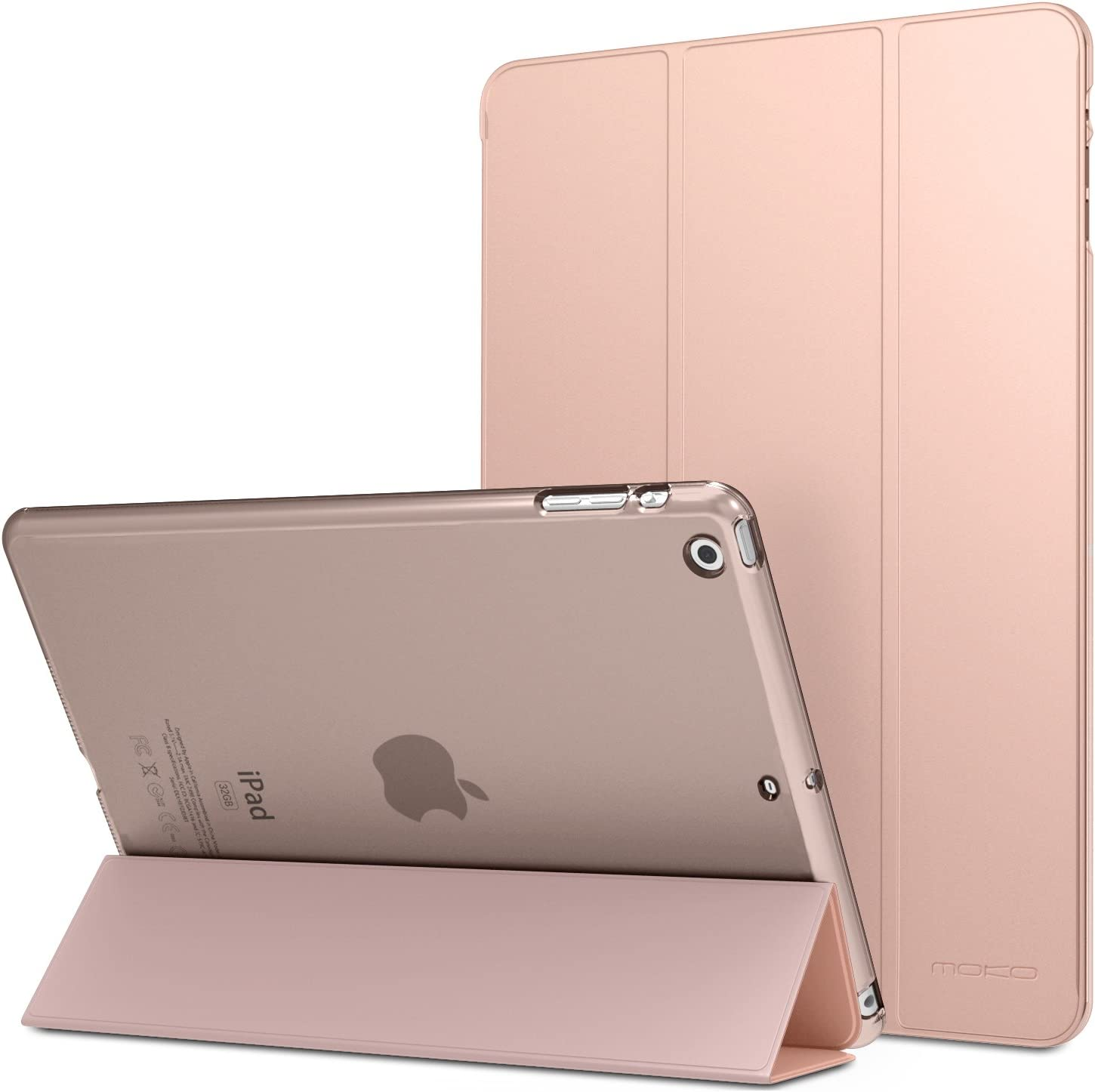 """MoKo Case Fit iPad Air - Slim Lightweight Smart Shell Stand Cover with Translucent Frosted Back Protector Fit iPad Air 9.7"""" Tablet, Rose Gold (with Auto Wake/Sleep, Not fit iPad Air 2)"""