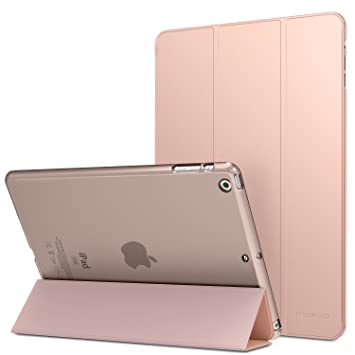 MoKo Funda para iPad Air - Ultra Slim Lightweight Función de Soporte Protectora Plegable Smart Cover Trasera Transparente Durable - Rosa Dorada (No es ...