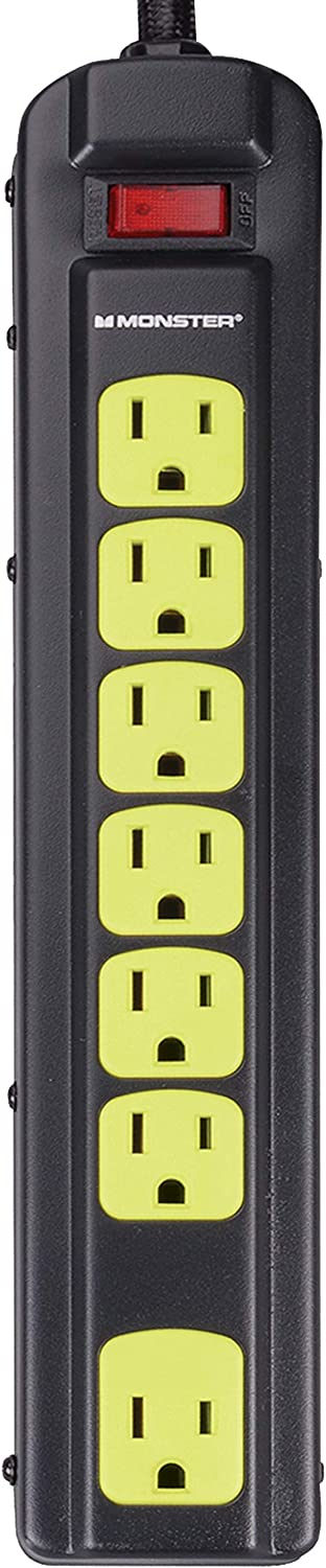 Monster Power Strip Surge Protector - Heavy Duty Protection for 7 Plug-ins - Ideal for Computers, Home Theatre, Home Appliance and Office Equipment