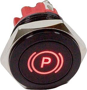 "Alpinetech PLB16MS 16mm 5/8"" 12V LED Metal Signal Indicator Pilot Dash Light (Parking Brake Indicator)"