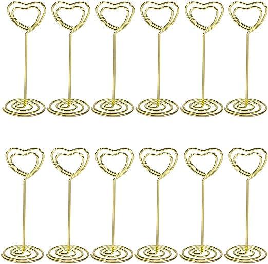 Bestomz cartes menu dor/é Lot de 12/supports sur pied en forme de c/œur pour num/éro de table photo