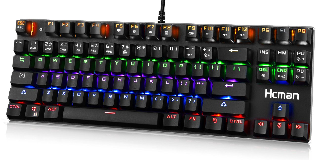 LED Backlit Mechanical Gaming Keyboard,Hcman USB Wired Computer Gaming Keyboard Blue Switches with Cool 6 Colors Light for PC or Mac,87 Keys (Black)