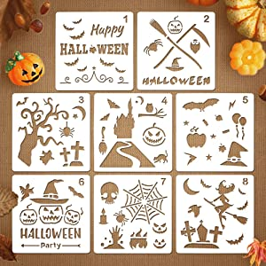 Coogam 8 Pcs Halloween Stencils Template DIY Decorative Pumpkins Design Mould Set - Reusable Plastic Craft for Art Drawing Painting Spraying Window Mirror Glass Door Car Body Wood Journaling Scrapbook