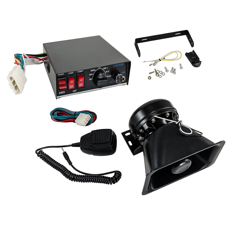 100 W 12 V 8sound LoudスピーカーPAホーンサイレンシステムマイクキット警察車Fire Truck B01N9KEEW4