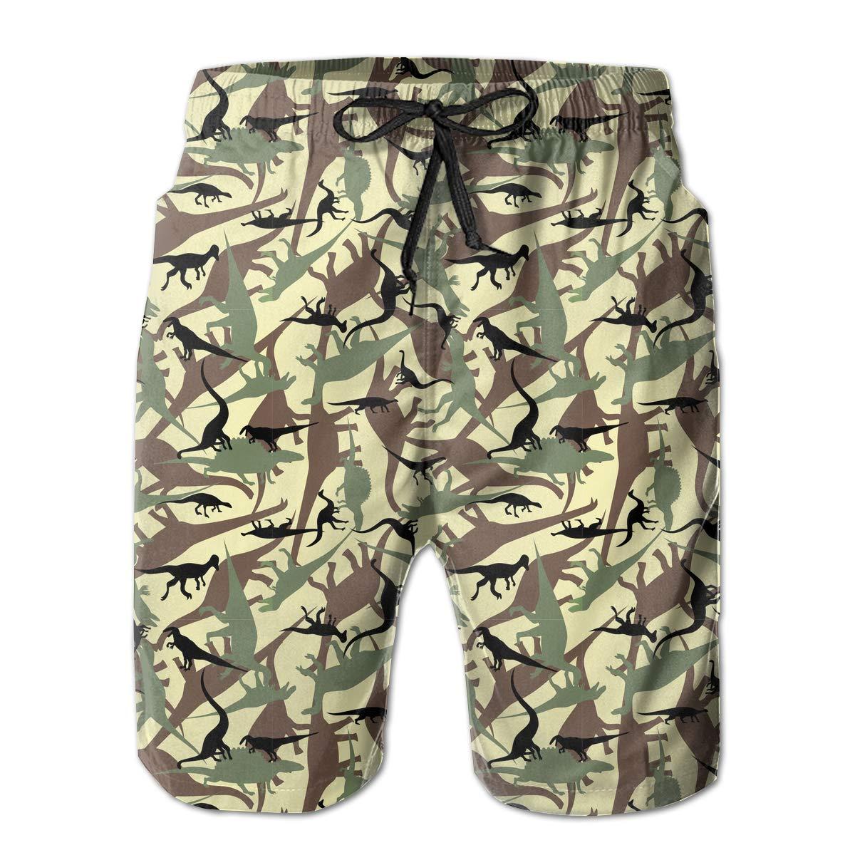 Dinosaur Camouflage1 Pattern Mens Beach Board Shorts Dry Fit Beachwear