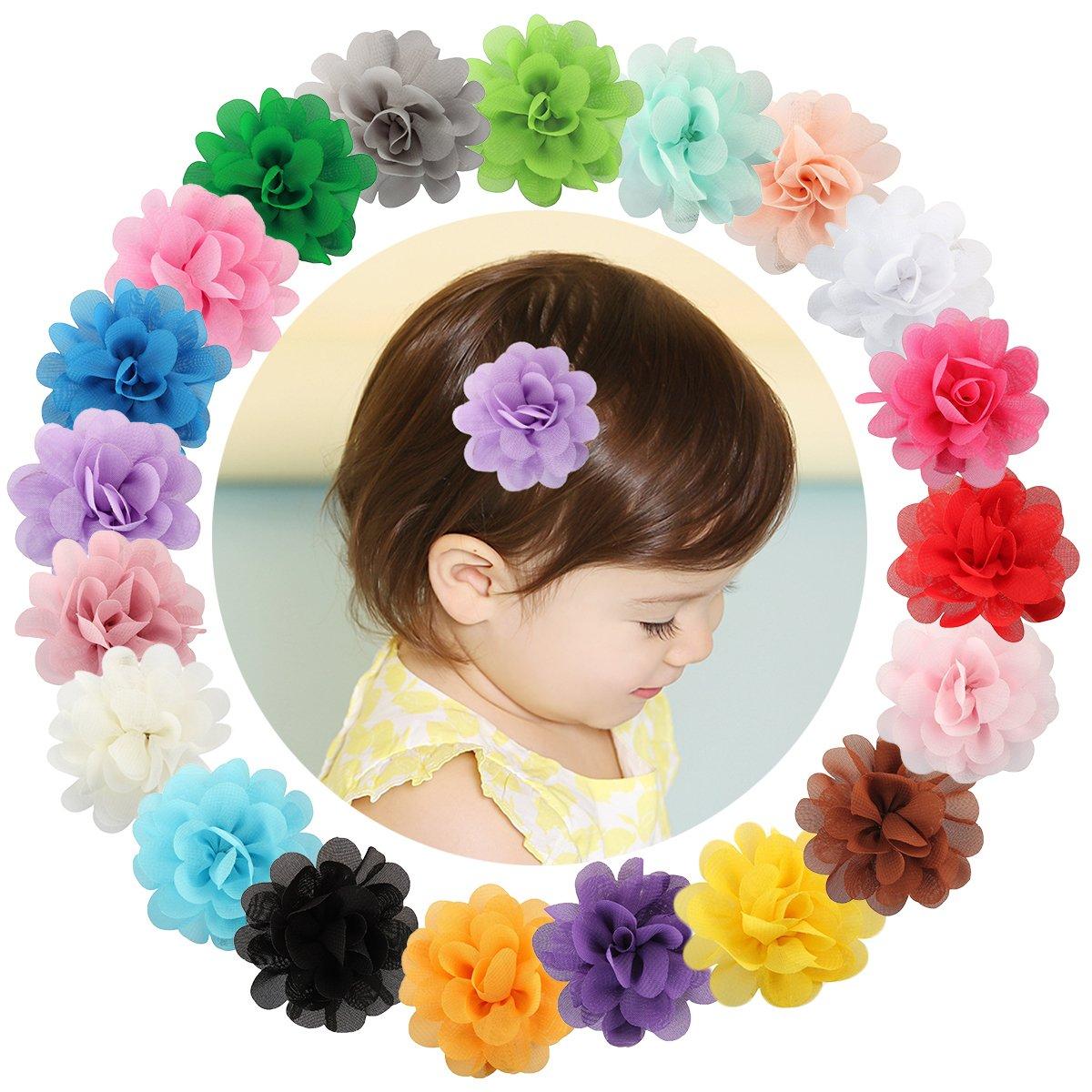 20épingles à cheveux Txian à fleurs pour petites filles en mousseline de soie, pinces crocodile, barrettes à cheveux 1318
