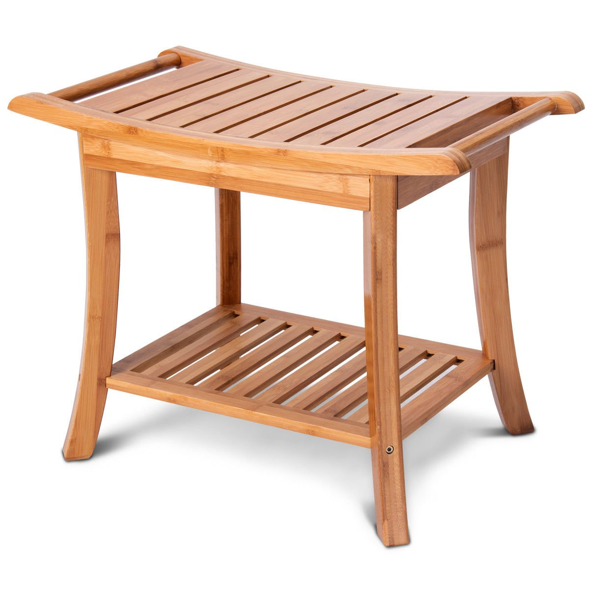 24'' Bamboo Shower Bench Spa Seat Organizer Stool Rounded Corners w/Storage Shelf