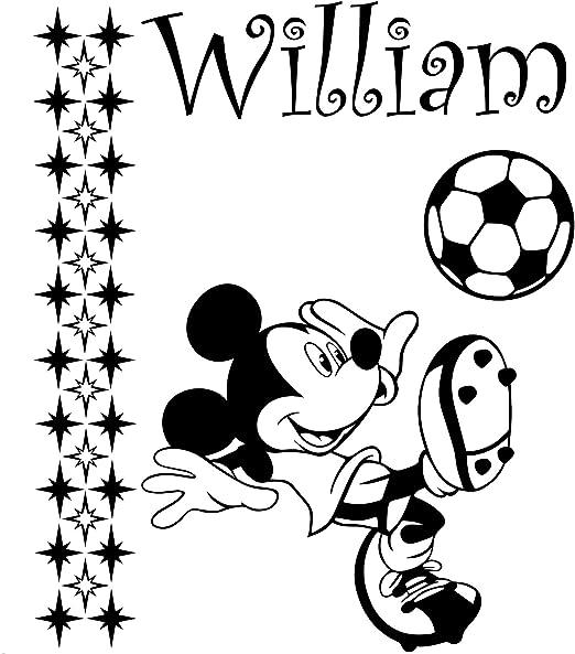 Mickey Mouse con su nombre elegido y conjunto de 29 estrellas 60 cm x 50 cm