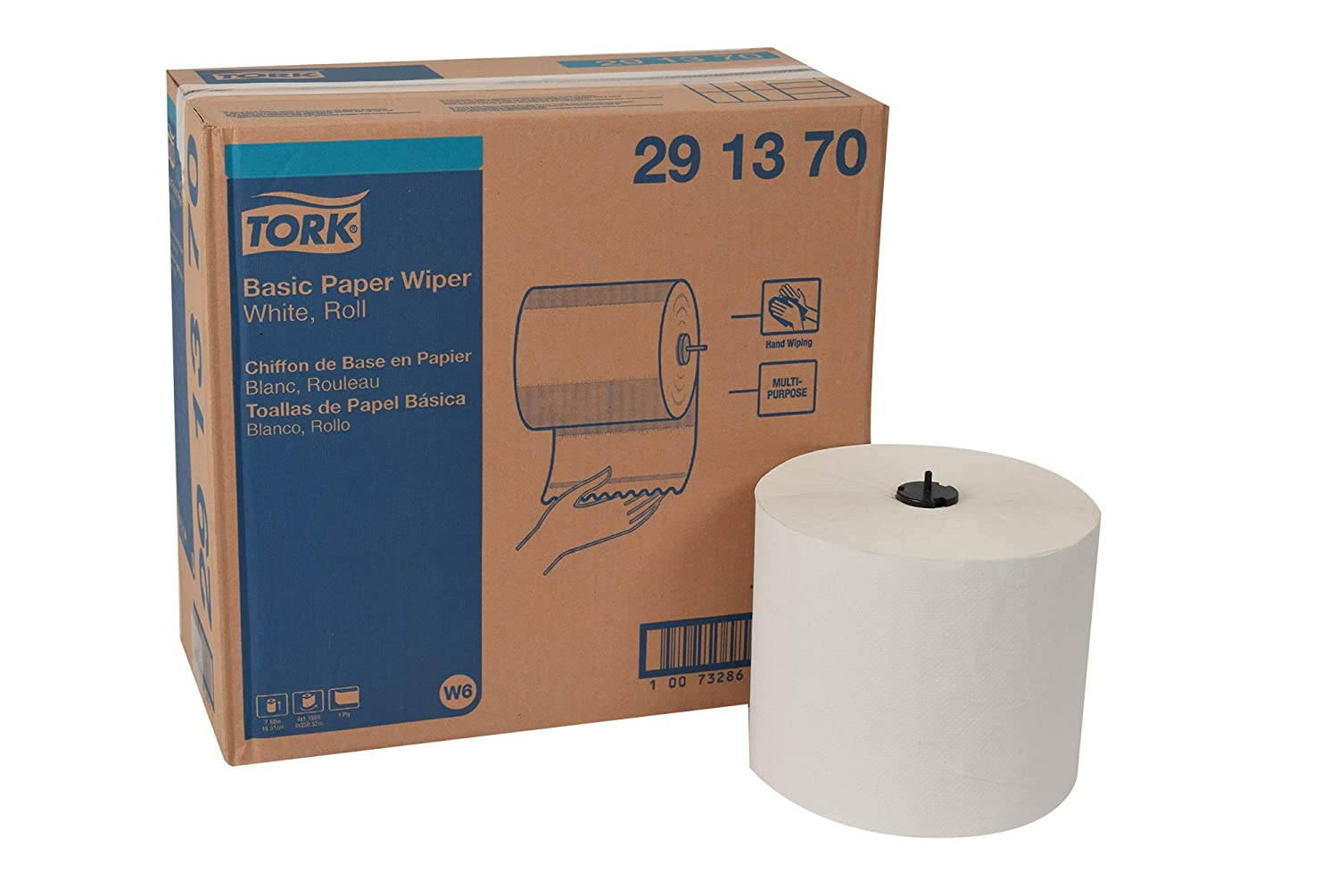 Tork 291370 Basic Paper Wiper, Roll Towel, 1-Ply, 7.68