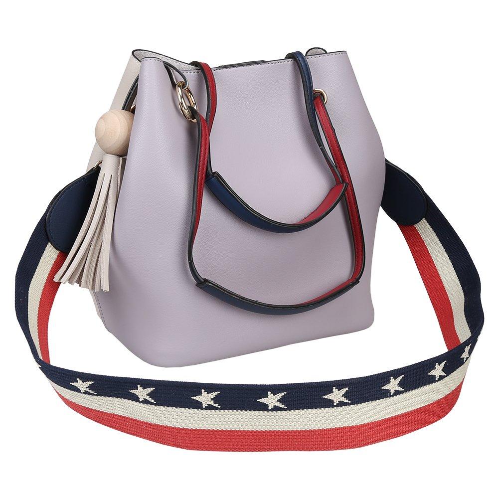 Fantastic Zone Fashion Women Handbags PU Leather Casual Bag Big Bag with Small Bag Women Tote Bag, Grey
