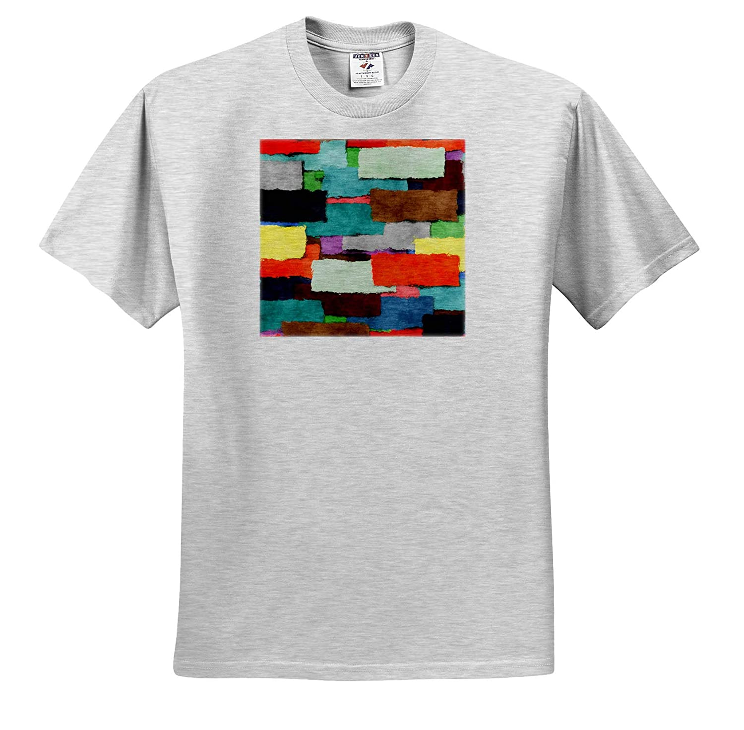 Textured Rectangular Shapes 3dRose Perkins Designs Abstract Colorful Layers of Rough Edged T-Shirts