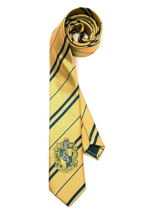 Harry Potter corbata con emblema Hufflepuff amarillo en seda ...