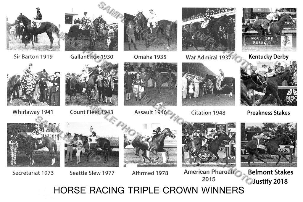 SPORTSPHOTOSUSA Justify American Pharoah Secretariat War Admiral Affirmed Seattle Slew Triple Crown Winners Horse 12x18 Photo Poster