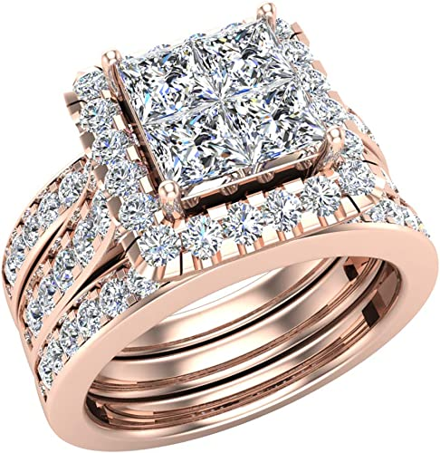 Amazon Com Princess Cut Wedding Rings Set For Women 14k Gold Quad Illusion 1 80 Ct Tw J I1 Jewelry