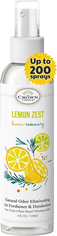 Lemon Zest Linen and Room Spray | Natural Aromatic Mist | Lemon & Rosemary Essential Oils| Bathroom Spray, Air Freshener, Pillow Mist, Sleep Spray