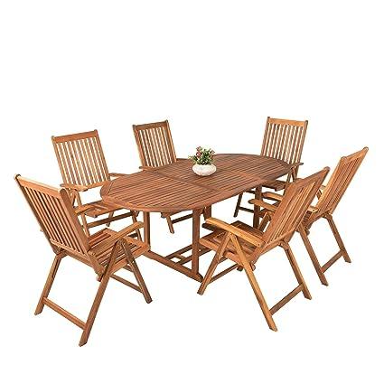 Gartentisch Mit Sechs Stühlen.Amazon De Estexo Akazienholz Gartenmöbel Set Mit