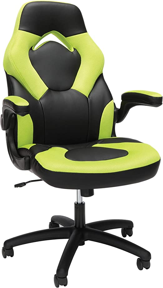 Amazon Com Ofm Racing Style Bonded Leather Gaming Chair In Green Furniture Decor