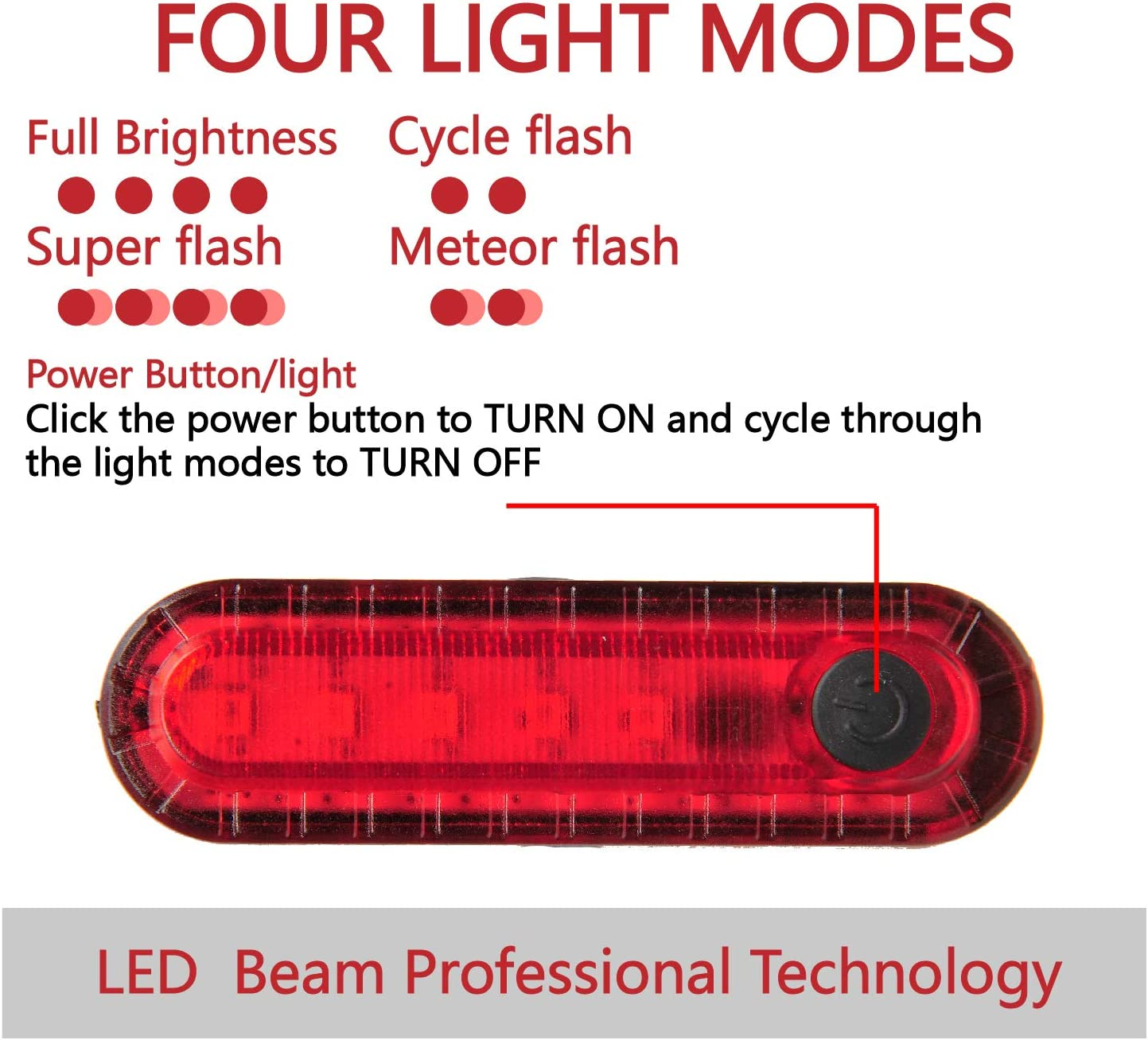 Fits on All Bike and Helmet Super Bright Bicycle Rear Light Keep Safe Cycling victagen USB Rechargeable LED Bike Tail Light 2 Pack with 330mAh Lithium Battery Four Light Modes 2 USB Cables