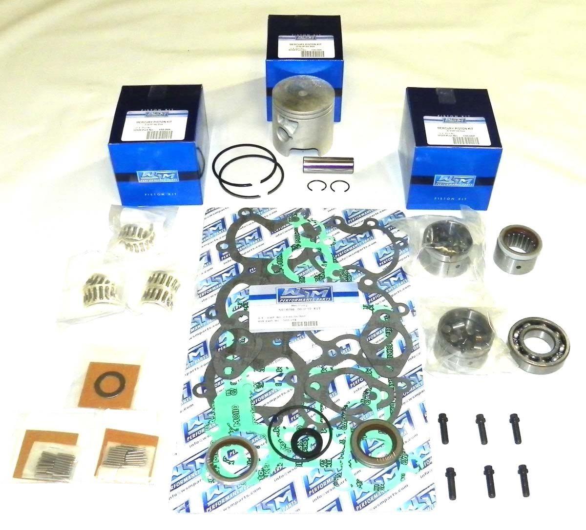 Mercury 50 & 60 Hp 1991-1997 3 Cylinder Power Head Rebuild Kit PWC 100-07-10 Piston OEM# 783-9613A 1, 783-9613T 1 (.015'' (3.010''))