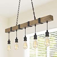 LOG BARN Kitchen Light Fixtures, Farmhouse Chandelier for Kitchen Island in Rustic Faux Wood with Black Wires, 5-Light Pendant Lighting for Dining Room