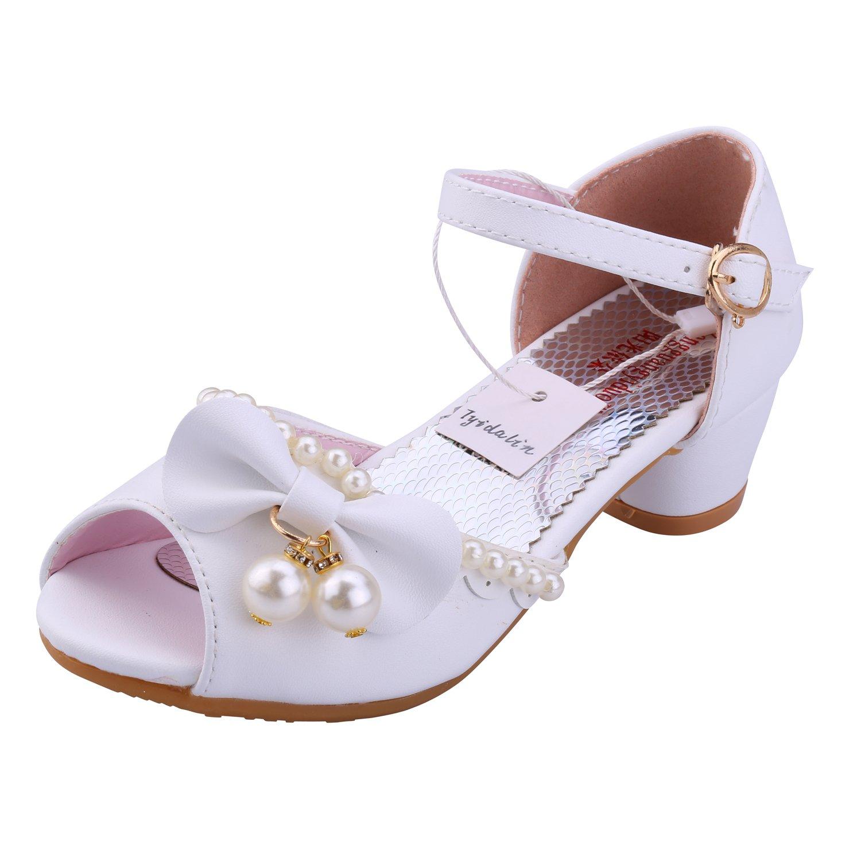 5462133853c528 Tyidalin Sandales Fille, Chaussures à Talon Ballerine Princesse Enfant Blanc  pour Ceremonie Mariage Déguisement product