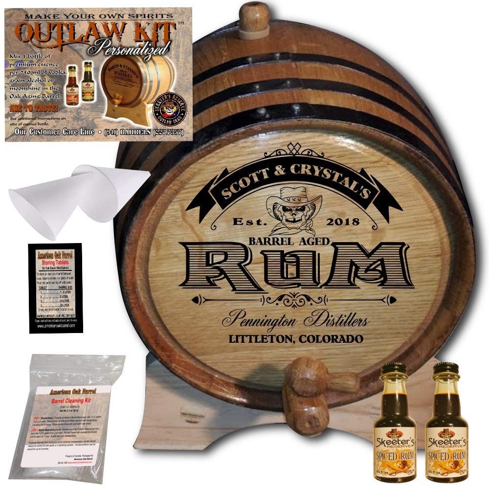 Personalized Rum Making Kit (100) - Create Your Own Spiced Rum - The Outlaw Kit from Skeeter's Reserve Outlaw Gear - MADE BY American Oak Barrel - (Oak, Black Hoops, 2 Liter)