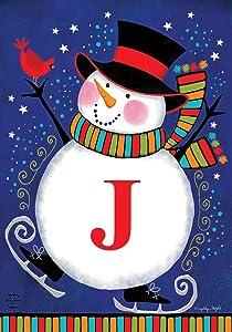 """Briarwood Lane Winter Snowman Monogram Letter J Garden Flag 12.5"""" x 18"""""""